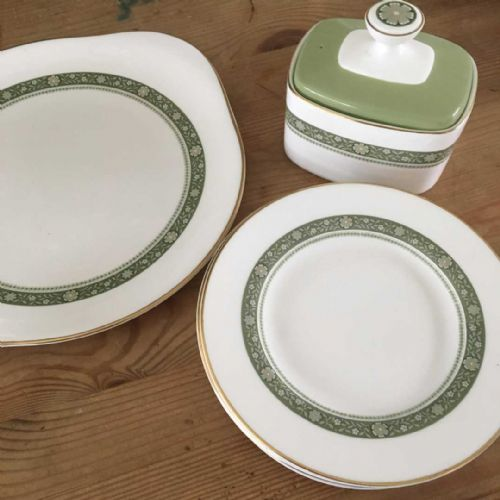Royal Doulton Rondelay - Cake / Sandwich Plate, Tea Plates & Butter Dish